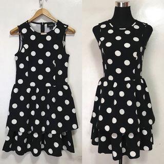 MONKI Sleeveless Black Polka Dots Layered Dress