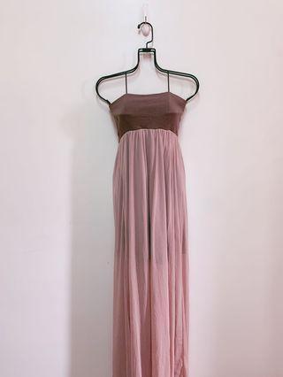 正韓製網紗一字平口鬆緊輕婚紗長洋裝