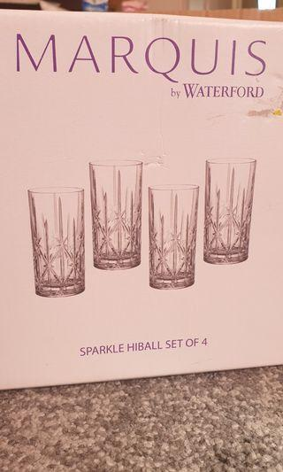 4 pcs marquis crystal SPARKLE HIBALL glass set by Waterford