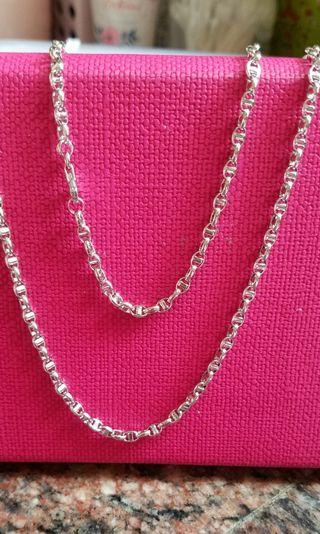 18K750 White Gold Necklace  22 inches long❤ NEW❤ Italy Gold 18K750白金頸鍊