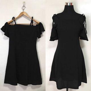 Plain Black Off Shoulder Dress w Tie Strings