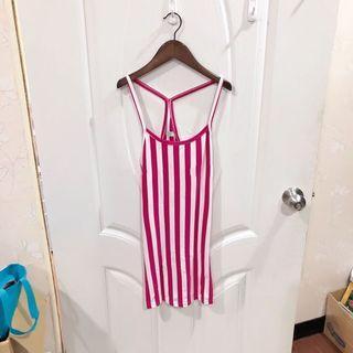 (二手.85新)粉色條紋背心 長版背心