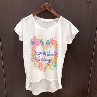 (二手.九成新)短袖T恤 短袖上衣 前長後短上衣 白色短袖上衣 短袖T恤