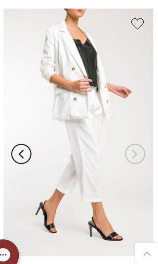 Reese Double Breasted Blazer and Pants in White
