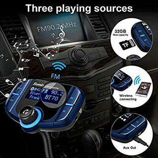 Car Bluetooth Fm Transmitter, Bluetooth Car Transmitter 1.7 Inch Display, QC3.0/2.4A Dual USB Ports, AUX Output, Mp3 Player By: Sumind