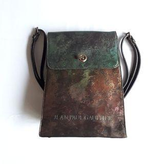 Jean Paul Gaultier Green Brown Oil Slick Cyber Rusty Style Back Pack In Very Good Condition One Size