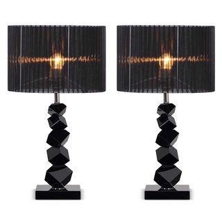 SOGA 2x 55cm Black Table Lamp with Dark Shade LED Desk Lamp