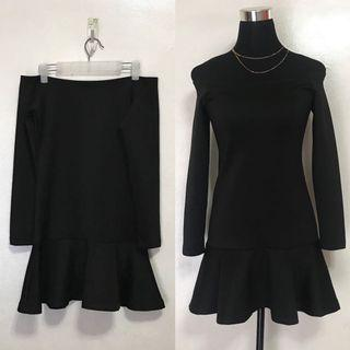 Black Off Shoulder Ruffled Party Semi Formal Cocktail Dress