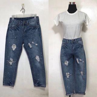 High Waist Tattered Distressed Denim Jeans Pants