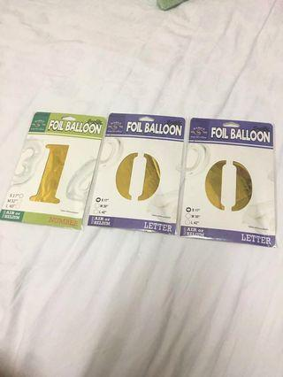 100 days 17 inch number gold foil balloon