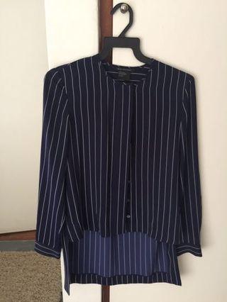 Armani Exchange royal blue striped blouse