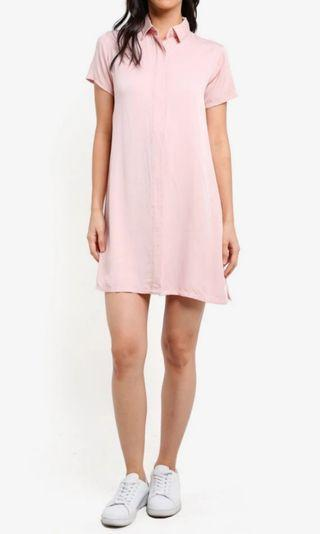 Pink Short Sleeve Shirt Dress