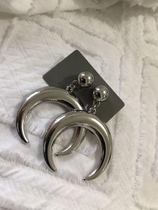 Silver statement half moon earrings