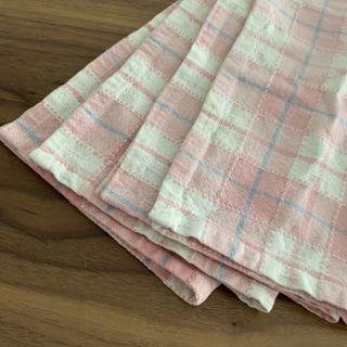 4Pcs Pink with Checkered Cotton Multipurpose Dining Placemat @sunwalker