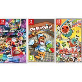 Switch 遊戲3隻 Mario Kart / overcooked / 太鼓