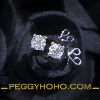 【Peggyhoho】全新18K白金34份鑽石4爪耳環 | 超值耳環 |經典系列
