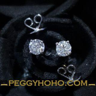 【Peggyhoho】全新18K白金30份鑽石4爪耳環 | 超值耳環 |經典系列