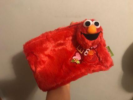Elmo 毛毛 筆袋 收納袋 化裝袋 芝麻街 禮物 sesame street pencil bag