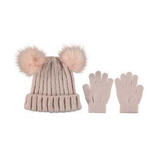 Topi rajut beanie set sarung tangan gloves dusty rose pink
