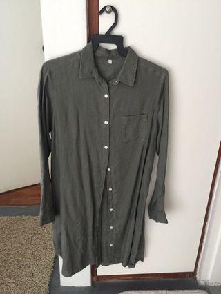 Muji shirt dress khaki green
