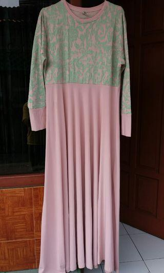 Long dress dusty pink with grey