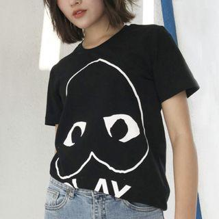 Women S/M • Japan Black T-shirt with Falling Heart PLAY