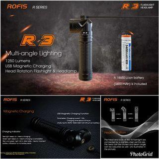 (FREE Rofis TC1 Keychain Light-Worth $28) Rofis R3 Rotatable Head 1,250 Lumens Rechargeable Flashlight_Magnetic Tail_ 90 Degree Adjustable Head