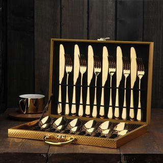 Gold color stainless steel 6 set knife and fork tableware