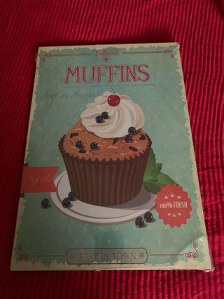 (RESERVED)Wall Decor Signage . Retro Vintage Muffin  Sign