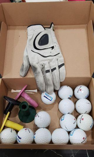 Golf balls, glove etc