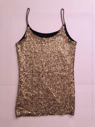 Gold equin tank top