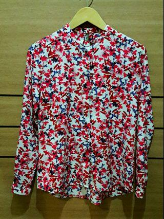 [PL] Red Flowery Button Blouse