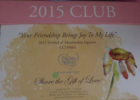 """Precious Moment 2015 Collectible item """"Your Friendship brings Joy To My Life"""""""