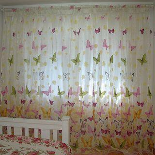 2pcs/set floral butterfly sheer translucent curtain drape