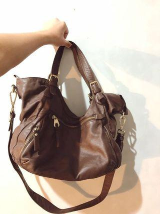 Leather hand bag by Maria Carla| Brown leather bag