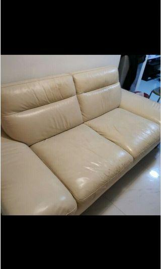 Preloved 2 seater Leather Sofa selling only sgd46!