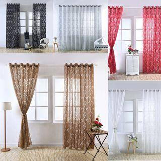 2pcs/set tree leaf sheer translucent curtain panel drape