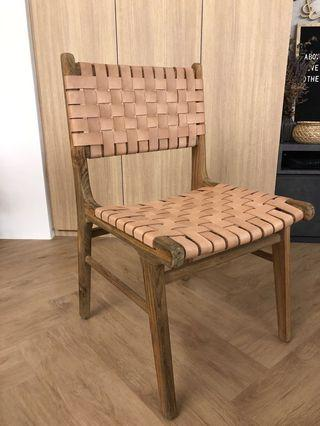 🚚 Woven Leather Dining Chair