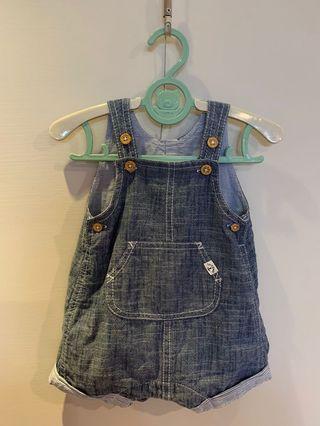 H&M 嬰兒仿牛仔吊帶褲1-3m(二手)