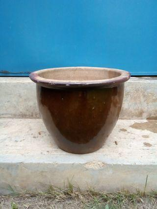 Glossy brown ceramic pots