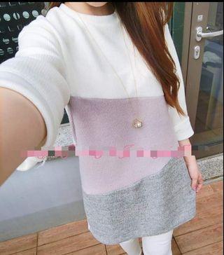 全新韓國女裝長袖Top 白灰粉紫拼色衫 one piece 直紋上衣 women Made in Korea