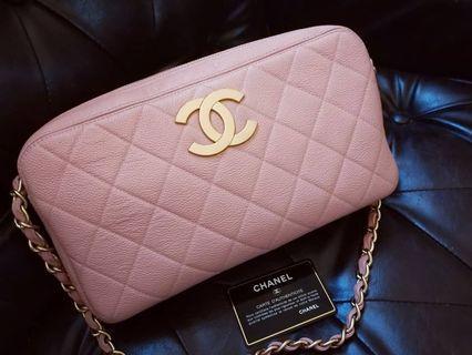 現貨Vintage Chanel櫻花粉魚子醬菱格大cc shoulder bag