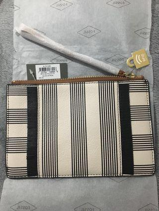 Fossil RFID black leather bag / wristlet / pouch new with tag unused
