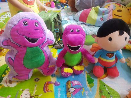 [Pre-loved] [Each @ $6] Barney Stuff Toy, Boy Version Superman, Barney (?) Pillow