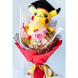 NEW JOURNEY - A GRADUATION POKEMON WITHTH A PRESERVED ROSE BOUQUET