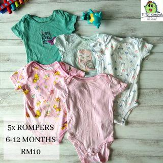 Baby Rompers Set 6-12 Months (Buy 5sets,FREE POSTAGE)