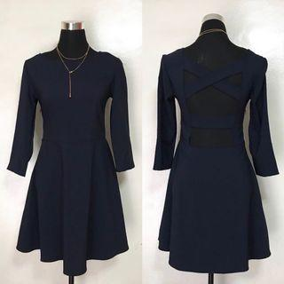 Navy Blue Backless Long Sleeves Party Semi Formal Cocktail Dress
