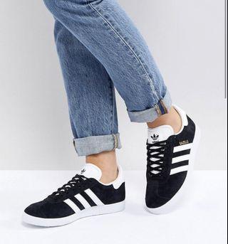 Authentic Adidas Black Gazelle Sneakers