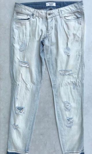 MANGO Ripped Skinny Jeans Vintage Light Wash