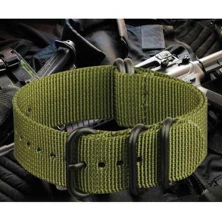 Zulu Nylon Diving Watch Strap (Green PVD)